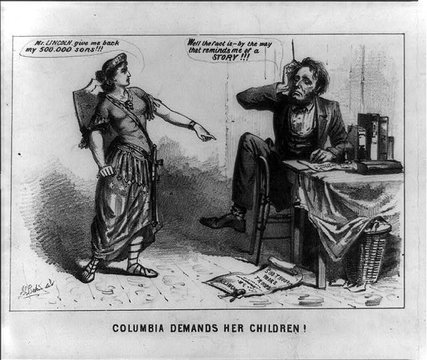 """8 - giant goddess Columbia & the American Civil War, """"Justice recording the voice of the people guided by Light, Liberty, & Truth"""""""