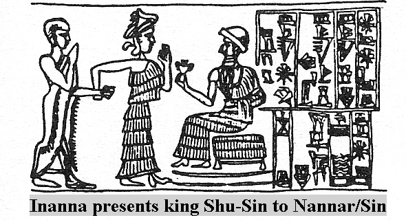 8a - Inanna presents her giant mixed-breed spouse-king Shu-Sin, to her father Nannar, the great god of Ur