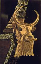 8a - Lyre Instrument artefact of Ur, lyre depicting the ram caught in the brush to be sacrificed by Abraham, instead of killing his son Isaac, Nannar raised numerous sheep & about one million cows in Ur, feeding all the gods & earthlings in Mesopotamia & those mining in So. Africa