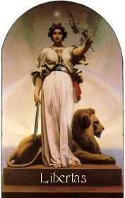 8a - goddess of the republic, Inanna with her weapon in one hand, & an olive branch in the other, & her zodiac sign of Leo the Lion