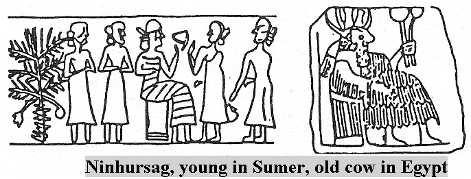 8aa - Ninhursag, young in Sumer, older cow in Egypt, with her medical staff