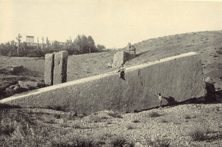 8b  - Baalbek Lebanon,  the alien gods launch & landing site, with the heavy stone foundation needed to handle the events of the gods with their flying sky-ships