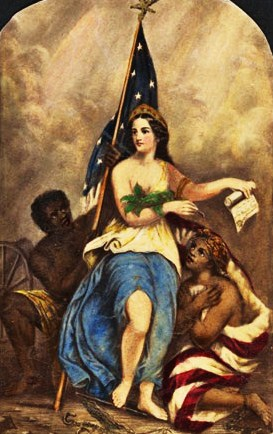 8c - George Fish painting, Emanicpation Columbia Boston 1863, liberty for all men created equal, the giant alien Inanna / Columbia / Liberty all throughout history, determining all civilizations, governments, & religions