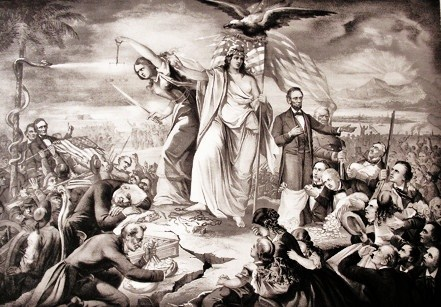 """8d - very busy depiction of 1861 """"The Outbreak of the Rebellion in the United States """", giant alien goddess Inanna with US President Abraham Lincoln, keeper of the union, the giant alien Inanna / Columbia / Liberty all throughout history, determining all civilizations, governments, & religions"""