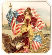 8e - giant alien goddess Columbia protects America with sword & shield