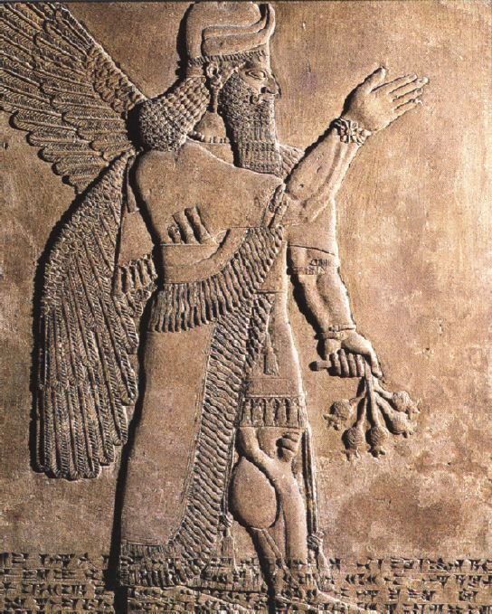 8h - Apkulla alien god, the cup-bearer, winged alien Apkulla pilot wall relief artifact, the giants were upon the Earth in those days, & the days after, when the sons of god(s) came down to Earth