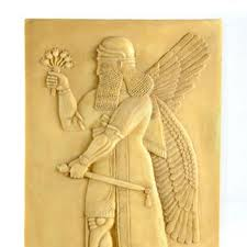 8s - flying winged giant alien pilot from Mesopotamia, god images with wings, early man's way of drawing alien beings that pilot strange flying machines