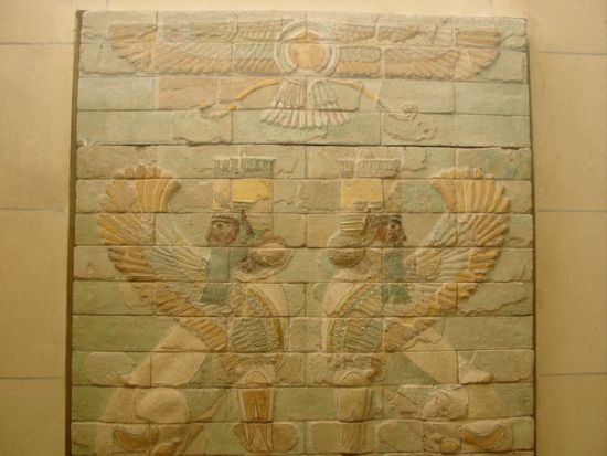 8y - Babylonian wall relief artefact of giant alien winged gods, alien pilots of sky-crafts witnessed by earthlings, with their flying disc hovering above them, technology not understood by the ancient Babylonian, but well known possessed by the patron gods of Mesopotamia, today we call them UFOs, but back them the earthlings identified them, lived with them, & were instructed by them