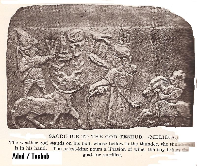 9 - Hittite relief of Adad, his spouse Shala, & their son Sarruma, with a goat dinner-sacrifice, the gods stayed on Earth Colony so long that many generations were beginning to be born on Earth, artefacts of the alien giants are being destroyed by Radical Islam, attempting to eliminate evidence from our long forgotten past, contradictory to today's religious teachings