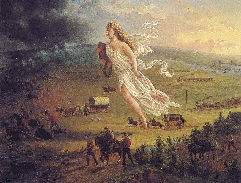 "9 - painting of the giant alien goddess Columbia leads the ""American progress west"", the giant alien Inanna / Columbia / Liberty all throughout history, determining all civilizations, governments, & religions"