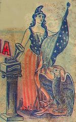 "9a - 1872, ""American Progress"", alien goddess Columbia with the new technology of records & playback, the giant alien Inanna / Columbia / Liberty all throughout history, determining all civilizations, governments, & religions"