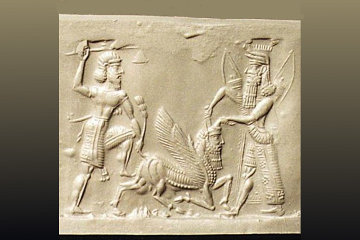 9c - Enkidu & Gilgamesh slay the Bull of Heaven, spoiled Inanna is given by Anu his city Uruk, his temple E-Anna, his 8-pointed star symbol, his Bull of Heaven, his skyship, the Indus Valley, & more