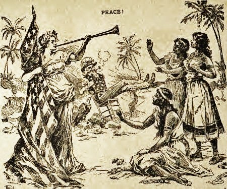 9c - In a 1898 newspaper cartoon, Uncle Sam watches as the Goddess of Liberty heralds freedom for Cuba, Puerto..., alien giant Inanna / Columbia / Liberty all throughout history, determining all civilizations, governments, & religions