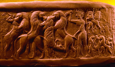 early man protects with his life the many flocks of the gods from the wild predatory beasts, used as food, clothing, etc.