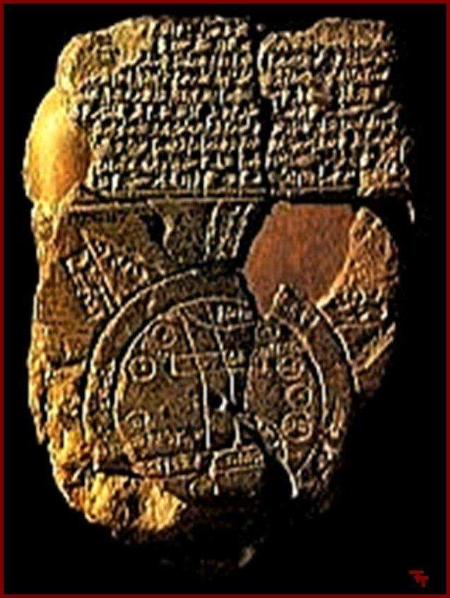 an ancient Mesopotamian artefact map of the world, knowledge not possibly known to earthlings