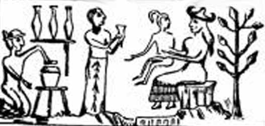 bio-engineering - Ninhursag in her Lab, holding the fashioned Adapa, into their image & into their likeness was he made, given the ability of language & comprehension, making it possible to communicate the commands from the newly promoted alien gods to the newly fashioned earthling workers