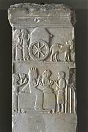 Mesopotamian ancient artefact of a women in a funeral procession