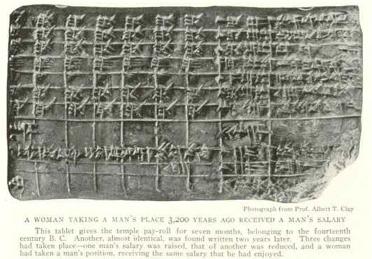Sumerian pay-roll, equal pay for women doing a man's work, book-keeping records of transactions in Ur