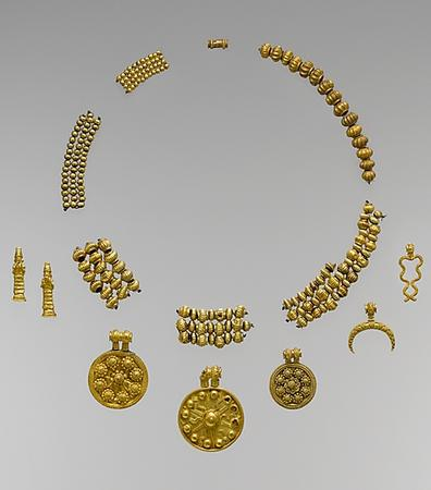ancient Babylonian jewelry artefact, intricate work depicting gods & their symbols, 2) 8-pointed stars, 1) 12-pointed star, 2) giant alien goddesses, & the moon crescent symbol of Nannar