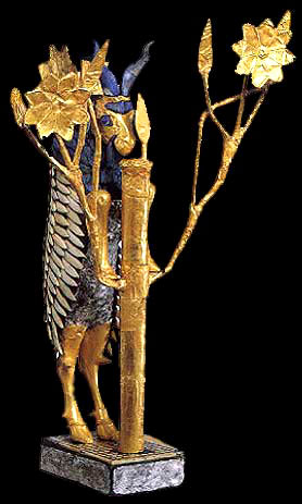 exquisite gold & lapis-lazuli ancient Ur artefact of God's Ram that spared Isaac from sacrifice by his father Abraham, a gorgeous exhibit of the ram caught in a thicket, that Biblical God directed Abraham to sacrificed instead of his son Isaac