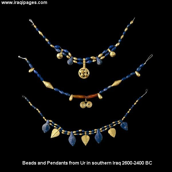 Ur Jewelry artefact from 2,600-2,400B.C., man was taught to work with fire & metals by alien giant god Gibil, creating weapons & also jewelry