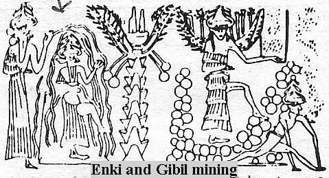 Enki & his son Gibil mining for gold, the Anunnaki came to Earth looking to cure their planet's atmospheric tares, using the Earth's gold on their planet for the repairs badly needed, damaged by global wars from creating a global One-World-Order