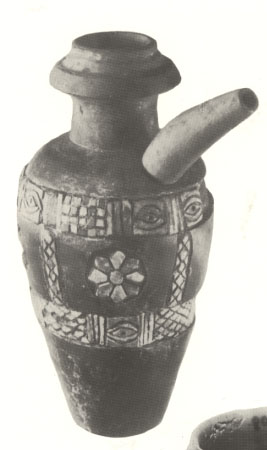black stone Sumerian ewer artefact, handsomely decorated