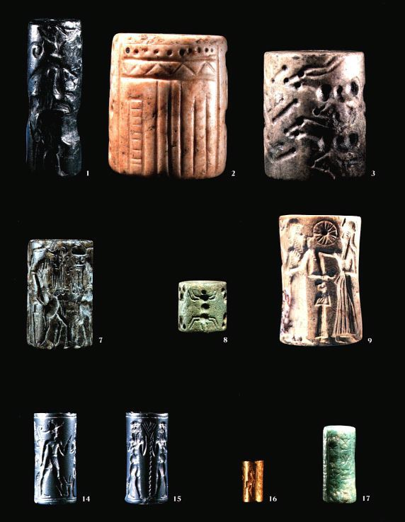ancient Mesopotamian seal artefacts, images carved into rock, & rolled onto wet clay, fired hot to harden & preserve