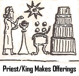 the high-priest or king sacrificed at the temple, feeding & attending to the needs of the gods
