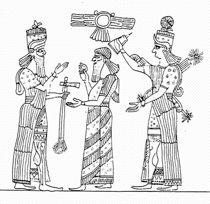 alien giant god Ashur, mixed-breed offspring King Ashurbanipal, & Goddess of Love & War, Inanna