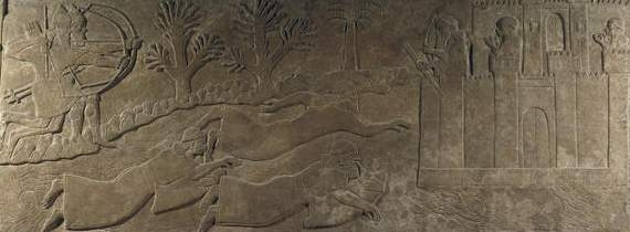 Sumerian artefact war scene, attack from land & water against a defensive wall