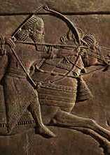 ancient artefact of an archer on horseback, horses used by earthlings for 1st time in history in Mesopotamia