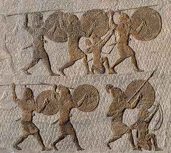 Mesopotamian war artefact of infantry with archers & spears