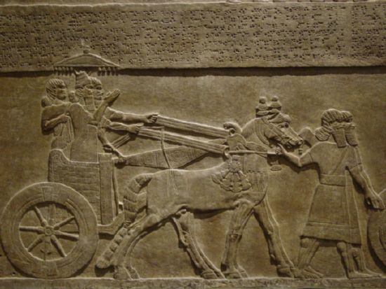 Mesopotamian chariot artefact, man was given the wheel for uses in hauling, travel, trade, & war