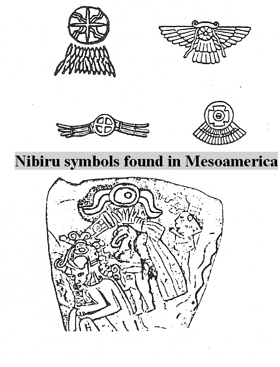1f - Nibiru symbols found in Mesoamerica, flying discs are found everywhere in Mesopotamia, some with pilots shown, some not, this symbol is very much around today, found in governments, religions, large corporations, etc.