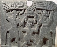 1j - early relief artefact of Gilgamesh, Enkidu, & Humbaba, with flying disc of the gods protecting Gilgamesh from above, flying discs are found everywhere in Mesopotamia, some with pilots shown, some not, this symbol is very much around today