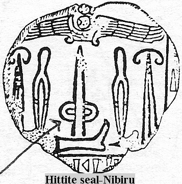 1wa - ancient Hittite seal artefact, depicting high-tech alien equipment, rockets with a flying disc hovering above, ancient evidence that the Nephilim were on the Earth in those days, & the days after