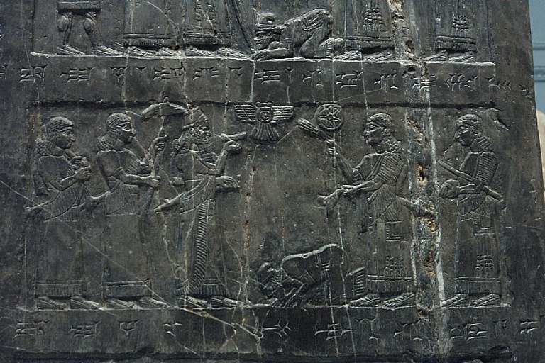 1x - Hebrew King Jehu surrenders to Shalmaneser II, victorious king protected from above by giant alien gods from planet Nibiru