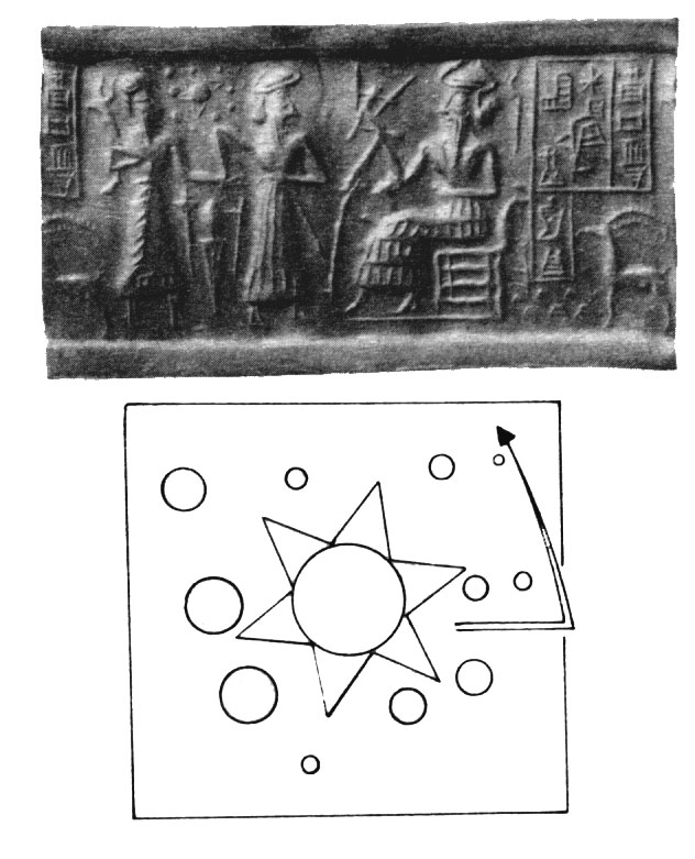 2a - 5,000 year old Mesopotamian artefact of a Sumerian relief depicting our solar system, solar planet positions actually match the positions on the relief of gods from thousands of years ago