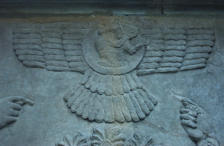 2c - Nimrud artefact of mixed-breed giant King Ashurnasirpal, pointing to his protector flying alien god above, alien technology not understood by the earthlings