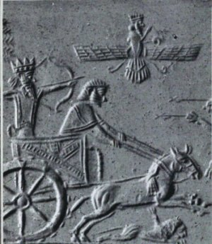 2d - giant alien god in his flying disc gives protective cover above for his king in a chariot chase, artefacts of the alien gods are shamefully being destroyed by Radical Islam, attempting to eliminate ancient knowledge, evidence that directly contradicts the 7th century A.D. doctrines of Islam