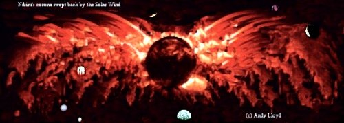 3d - 12 star in our solar system, Nibiru & its moons, Nibiru the red planet with many moons