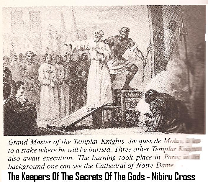 4m - the French execution of the Masonic Knights Templar, wearing their Templar Symbol of the alien gods home planet, Nibiru Cross, hidden knowledge power-brokers have controled for a thousand years or two