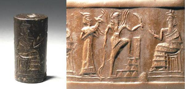 5c - unidentified goddess with dinner sacrifice, Utu entering Enlil's ziggurat - house in Nippur, & Enlil on his throne