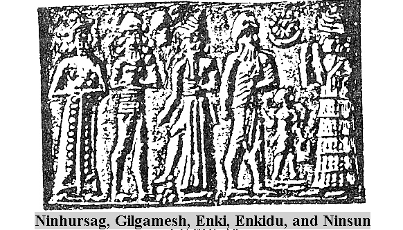 6c - Ninhursag, Gilgamesh, Enki, 12-pointed star symbol of Nibiru Enkidu, and Ninsun