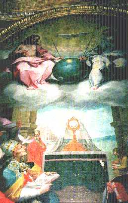 9b - Bonaventura Salimbeni 1,600 A.D. painting artefact of the Glorification of the Eucharist, Christian Painting in the 1600s with an Earth satellite in God's hands