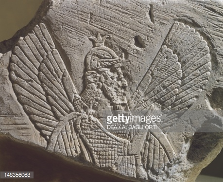 2fa - alien giant Anunnaki pilot depicted with wings, ancient Mesopotamian god image with wings, early man's way of drawing alien beings that pilot flying machines, alien high technologies earthlings were unable to understand