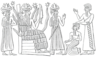 """7e - Shamash seated, 2 unidentified gods, & 2 unidentified giant earthling mixed-breeds, Utu is one of the sons of god(s) who came down to Earth & had sex with the daughters of man, their offspring became the Biblical """"heroes of old, men of renown"""", the """"mighty men"""", the """"giants"""", the 1st kings on Earth, such as Utu's mixed-breed son, King Meshkiaggasher of Uruk, the Biblical city of """"Erech"""""""