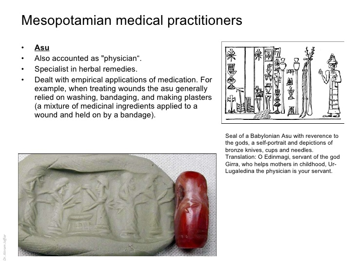 Mesopotamian artefact depicting ancient physician's attention & medicines
