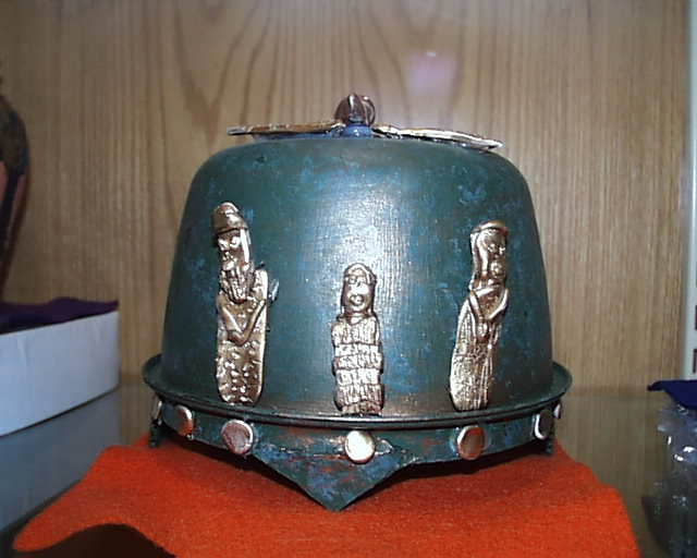 10 - Royal Ur War Helmet, with images of Nannar, Ningal seated, & unidentified goddess on the front, the idea of war comes to us earthlings from the giant alien gods with their customs, they unified their planet by continuous wars under a one world order - kingship of the entire planet Nibiru, Anu was that king, his sons came down from Heaven to Earth, & brought with them their customary way of doing things, war is the Anunnaki way, taught to mankind on Earth Colony